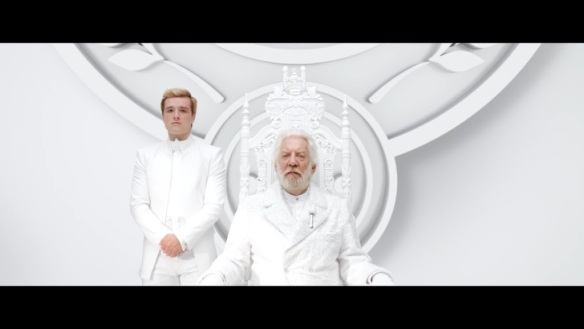 Donald Sutherland and Josh Hutchinson as President Snow and Peeta Mellark