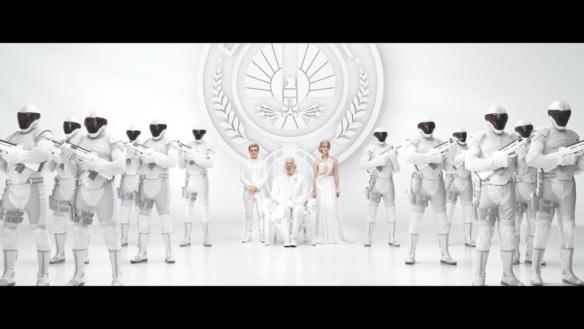 President Snow, Peeta Mellark and Johanna Mason