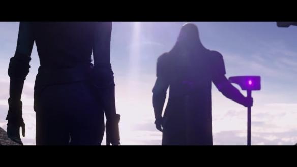 Lee Pace as Ronan and Karen Gillan as Nebula