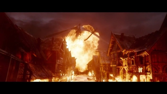 Smaug attacks Laketown