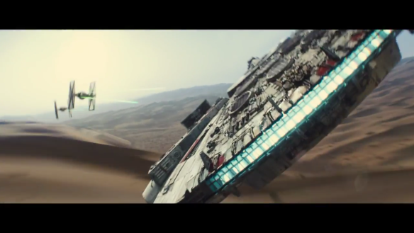 Star Wars: The Force Awakens, Millennium Falcon and TIE fighters