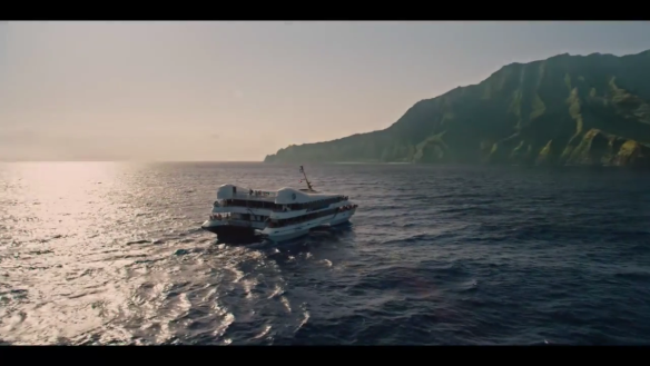 Boat arrives at Jurassic World
