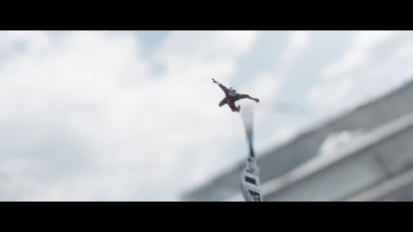 Ant-Man rides Hawkeye's arrow