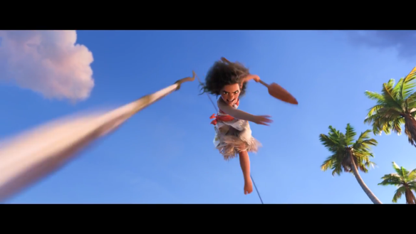 Moana kicks ass with a harpoon